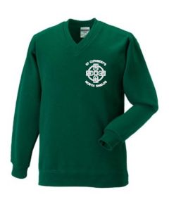Bottle Green V-Neck Knitted Jumper - With St Cuthberts (N/Shields) Logo