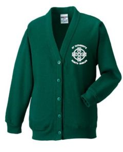 Bottle Green Knitted Cardigan - With St Cuthberts (N/Shields) Logo