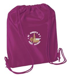 *SALE* Burgundy PE Bag - Embroidered With St Roberts RC First School Logo (While stocks last)