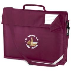 Burgundy Book Bag (with Strap) - Embroidered With St Roberts RC First School Logo