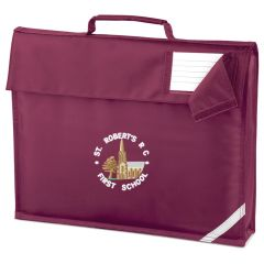 Burgundy Book Bag - Embroidered With St Roberts RC First School Logo
