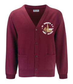 Burgundy Cardigan - Embroidered With St Roberts RC First School Logo