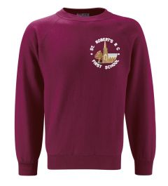 Burgundy Sweatshirt (Crew Neck) - Embroidered With St Roberts RC First School Logo