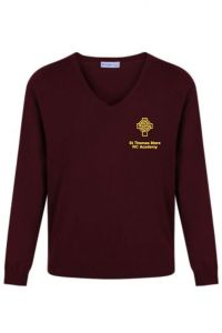 Maroon Jumper (Optional) - Embroidered with the St Thomas More (North Shields) logo.