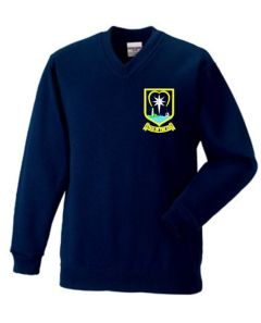 Navy Sweatshirt (V-Neck) - Embroidered With Star of the Sea School Logo