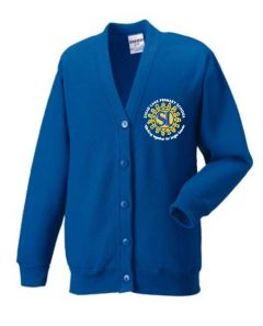 Royal Cardigan with Embroidered Stead Lane School Logo