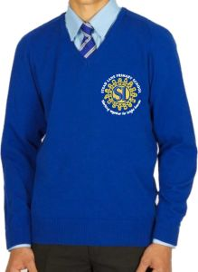 Royal Cotton Knitted V-neck Jumper (Years 5&6 Only) - Embroidered with Stead Lane Primary School Logo