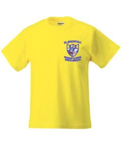 Yellow T-Shirt - Embroidered with St Joseph's RC Primary School (North Shields) logo