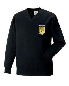Black V-Neck Sweatshirt embroidered with Parkside Academy Logo