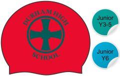 Neville - Red Swimming Hat - with Durham High School Logo