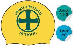 Heath - Yellow Swimming Hat - with Durham High School Logo