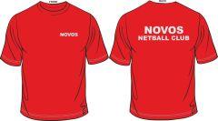 Ladies Fire Red Girlie Cool T-Shirt - Novos Netball Club Printed Logo + Printed Back