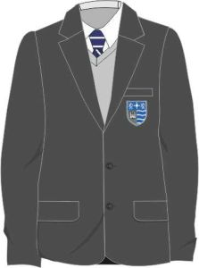 Grey Boys Contemporary Blazer (ABB) - Embroidered with Teesdale School Logo
