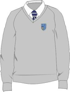 Grey Standard Fit Cotton V-Neck Jumper (CBV) - Embroidered with Teesdale School Logo