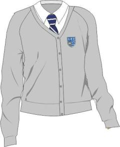Grey Girls Cotton Knitted Cardigan - Embroidered with Teesdale School Logo