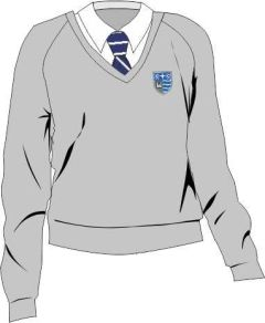 Grey Girls Cotton Knitted V-neck Jumper - Embroidered with Teesdale School Logo