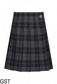 Senior Stitch Down Pleat Tartan Skirt (GST) - Embroidered with Teesdale School Logo