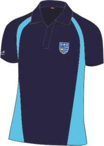 Girls PE Navy/Cyclone Akoa Polo Top - Embroidered with Teesdale School Logo