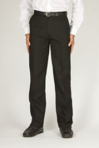 Boys Black Flat Front Trousers