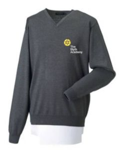 Boys Grey V'Neck Cotton Jumper embroidered with The Blyth Academy Logo (Optional)
