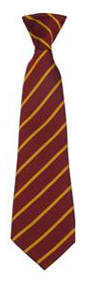 Maroon/Gold Clip-on Tie for Whittingham C of E Primary School