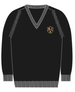 Black V'Neck Cotton Jumper - Embroidered with Park View School Logo (Optional)
