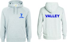 Grey Hooded Sweatshirt with embroidered Valley Gardens P.E. Logo & Printed on Back