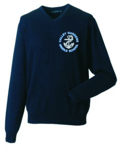 Navy V'Neck Acrylic Jumper embroidered with Valley Gardens Middle School Logo