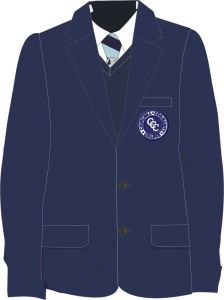 Boys Navy Blazer - Embroidered with Churchill Community College Logo