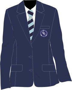 Girls Navy Blazer - Embroidered with Churchill Community College Logo