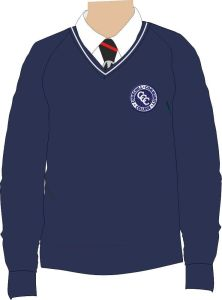 Navy/White Trim Jumper - Embroidered with Churchill Community College Logo