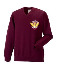 Maroon V-neck Jumper- Embroidered with Wellfield Middle School