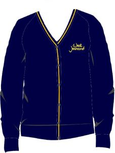 Navy/Gold Knitted Cardigan - Embroidered With West Jesmond PS Logo