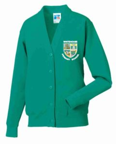 Jade Sweat Cardigan Embroidered with Whitehouse Primary School Logo