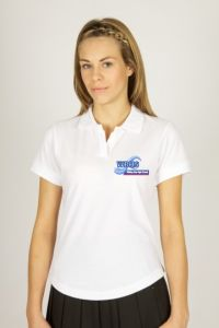 White Fitted Girls Polo - Embroidered With Whitley Bay High School Logo