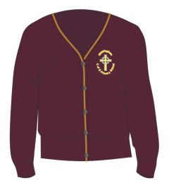 Maroon/Gold Trim Cardigan - Embroidered with Whittingham C of E Primary School Logo