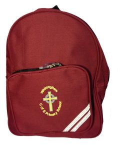 Burgundy Infant Backpack - Embroidered with Whittingham C of E Primary School logo