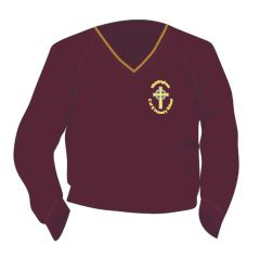 Maroon/Gold Trim Jumper - Embroidered with Whittingham C of E Primary School Logo