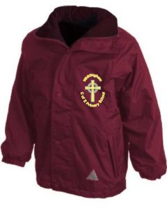 Maroon Stormproof Coat - Embroidered with Whittingham C of E Primary School Logo