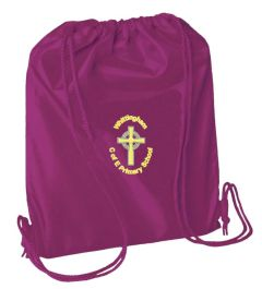 Maroon PE Bag - Embroidered with Whittingham C of E Primary School Logo