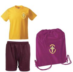 PE KIT (T-shirt, Shorts & PE Bag) - Embroidered with Whittingham C of E Primary School Logo