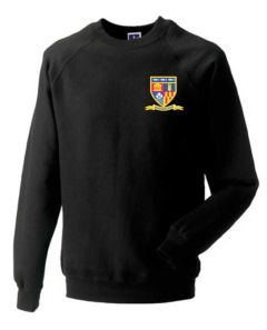 Black Sweatshirt - Embroidered with Whytrig Middle School logo (NAMED)
