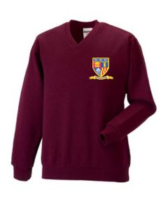 Burgundy V-Neck Sweatshirt - Embroidered with Whytrig Middle School logo (NAMED)