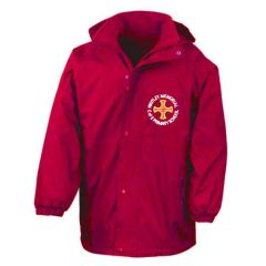 Red Stormproof Coat - Embroidered with Whitley Memorial CE Primary School Logo