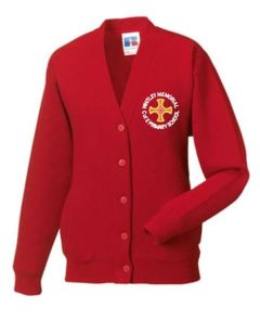 Red Cardigan - Embroidered with Whitley Memorial CE Primary School Logo