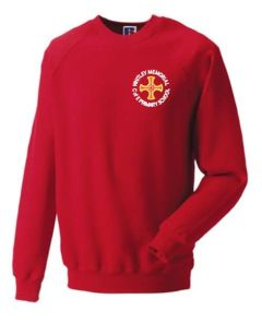 Red Sweatshirt - Embroidered with Whitley Memorial CE Primary School Logo