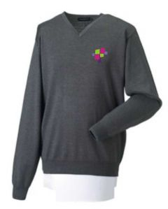 Grey Knitted V-Neck Jumper - Embroidered with Whitworth Park Academy logo