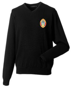 Black Knitted V-Neck Jumper Embroidered with Wolsingham School Logo