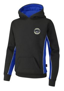 PE Hoodie - Black/Royal/White - Embroidered with Westmoor Primary School Logo + Printed on Back