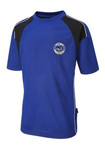 PE T-shirt - Royal/Black - Embroidered with Westmoor Primary School Logo